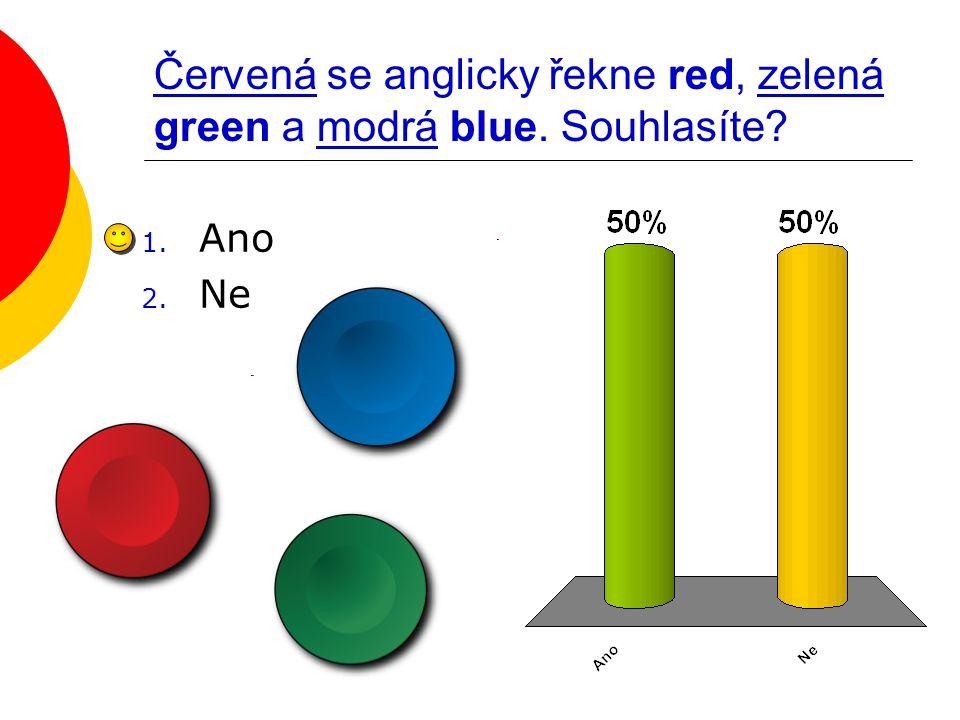 Červená se anglicky řekne red, zelená green a modrá blue. Souhlasíte? 1. Ano 2. Ne