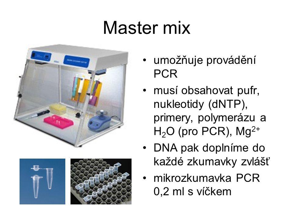 Master mix umožňuje provádění PCR musí obsahovat pufr, nukleotidy (dNTP), primery, polymerázu a H 2 O (pro PCR), Mg 2+ DNA pak doplníme do každé zkuma