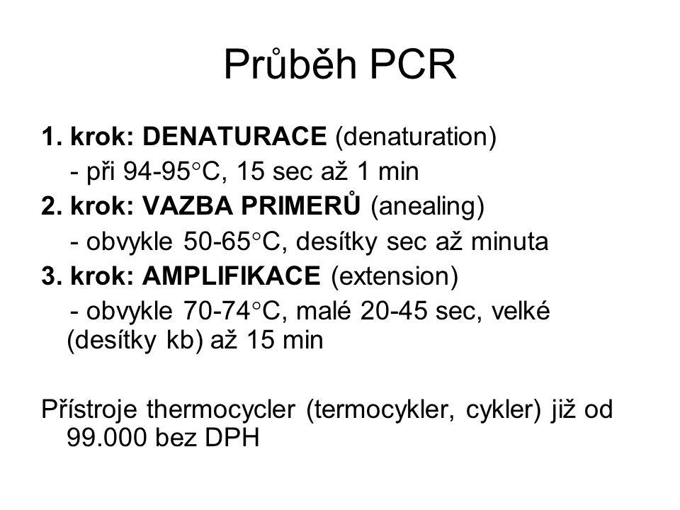Průběh PCR 1. krok: DENATURACE (denaturation) - při 94-95  C, 15 sec až 1 min 2. krok: VAZBA PRIMERŮ (anealing) - obvykle 50-65  C, desítky sec až m