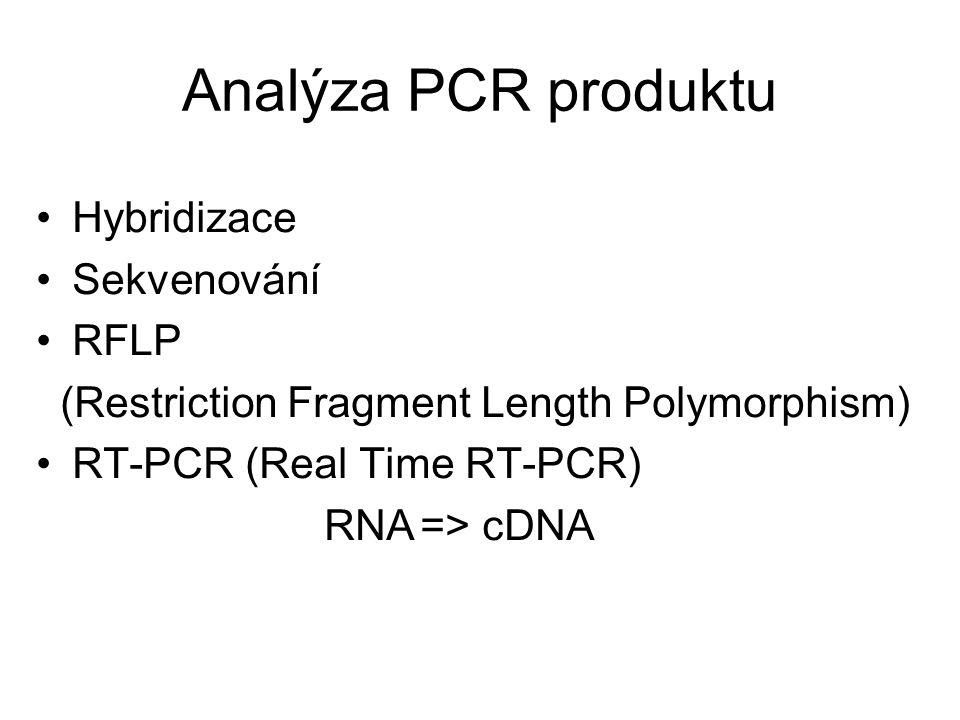 Analýza PCR produktu Hybridizace Sekvenování RFLP (Restriction Fragment Length Polymorphism) RT-PCR (Real Time RT-PCR) RNA=> cDNA