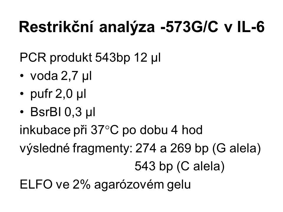 Restrikční analýza -573G/C v IL-6 PCR produkt 543bp 12 µl voda 2,7 µl pufr 2,0 µl BsrBI 0,3 µl inkubace při 37  C po dobu 4 hod výsledné fragmenty: 2