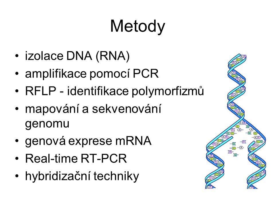 Metody izolace DNA (RNA) amplifikace pomocí PCR RFLP - identifikace polymorfizmů mapování a sekvenování genomu genová exprese mRNA Real-time RT-PCR hy