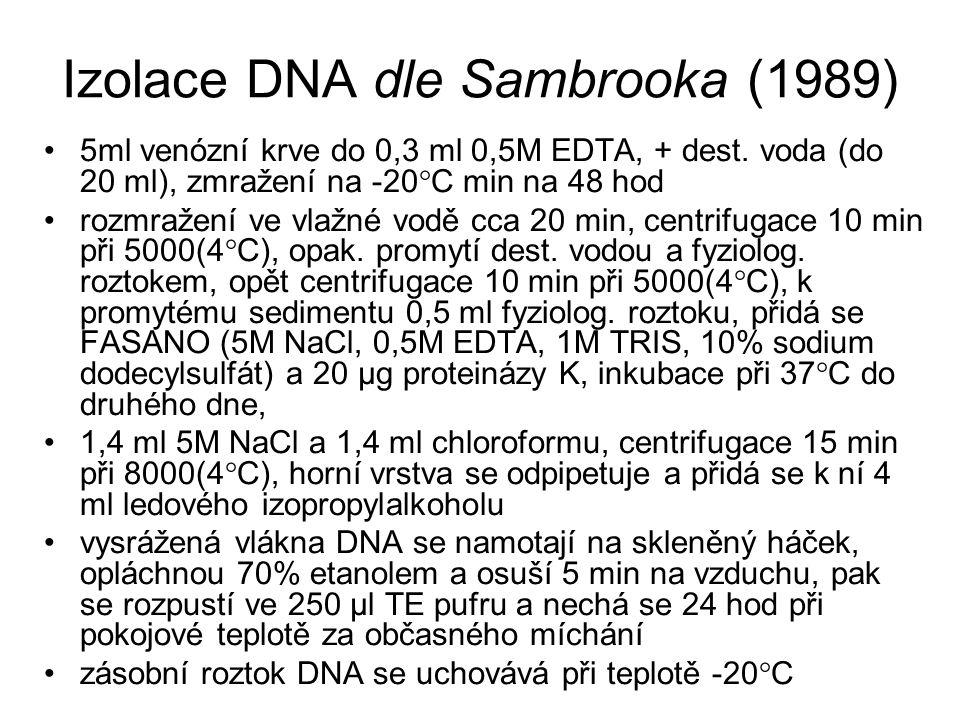 Izolace DNA dle Sambrooka (1989) 5ml venózní krve do 0,3 ml 0,5M EDTA, + dest. voda (do 20 ml), zmražení na -20  C min na 48 hod rozmražení ve vlažné