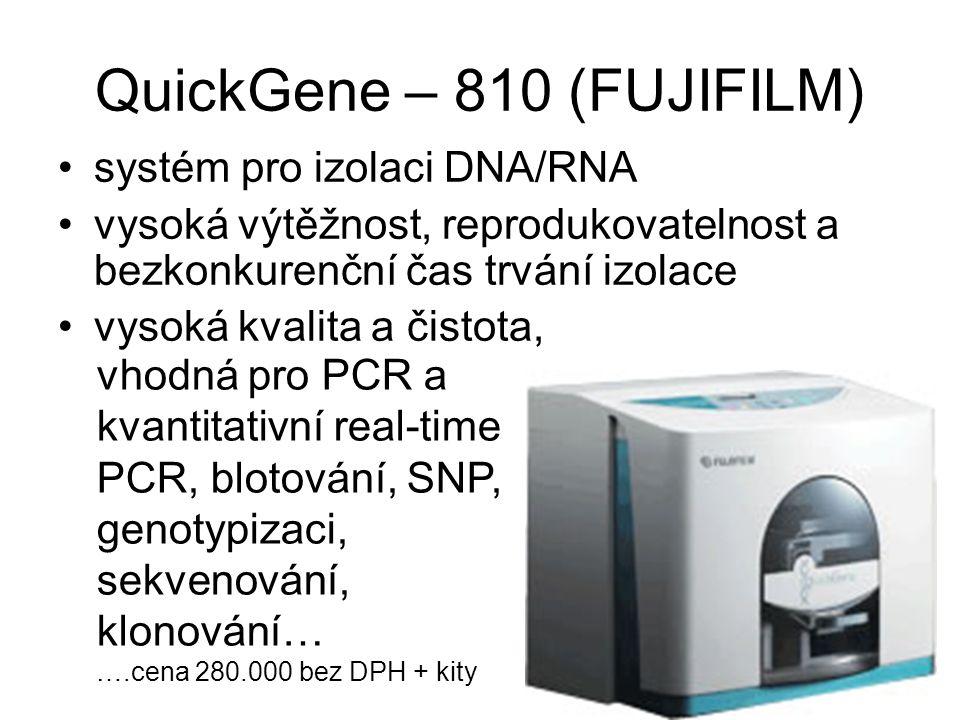 QuickGene – 810 (FUJIFILM) systém pro izolaci DNA/RNA vysoká výtěžnost, reprodukovatelnost a bezkonkurenční čas trvání izolace vysoká kvalita a čistot
