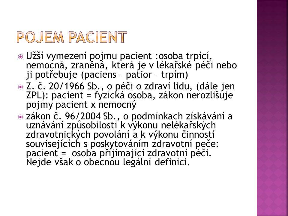  Užší vymezení pojmu pacient :osoba trpící, nemocná, zraněná, která je v lékařské péči nebo ji potřebuje (paciens – patior – trpím)  Z. č. 20/1966 S