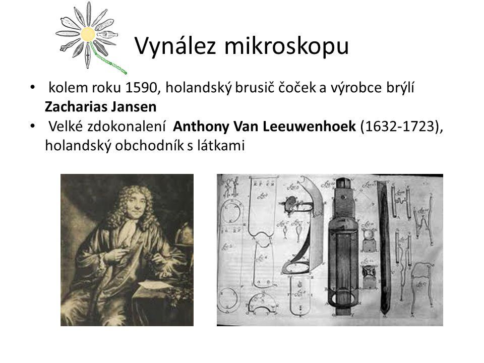 Vynález mikroskopu kolem roku 1590, holandský brusič čoček a výrobce brýlí Zacharias Jansen Velké zdokonalení Anthony Van Leeuwenhoek (1632-1723), hol