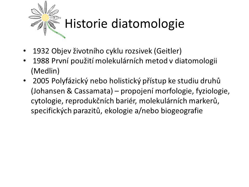 Historie diatomologie 1932 Objev životního cyklu rozsivek (Geitler) 1988 První použití molekulárních metod v diatomologii (Medlin) 2005 Polyfázický ne