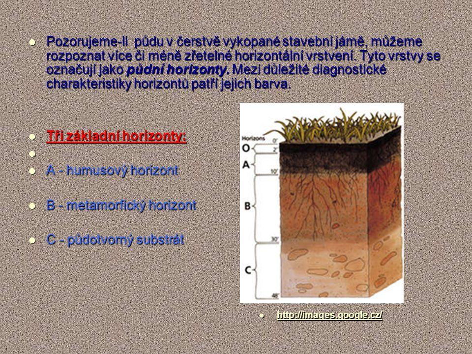 Pozorujeme-li půdu v čerstvě vykopané stavební jámě, můžeme rozpoznat více či méně zřetelné horizontální vrstvení. Tyto vrstvy se označují jako půdní