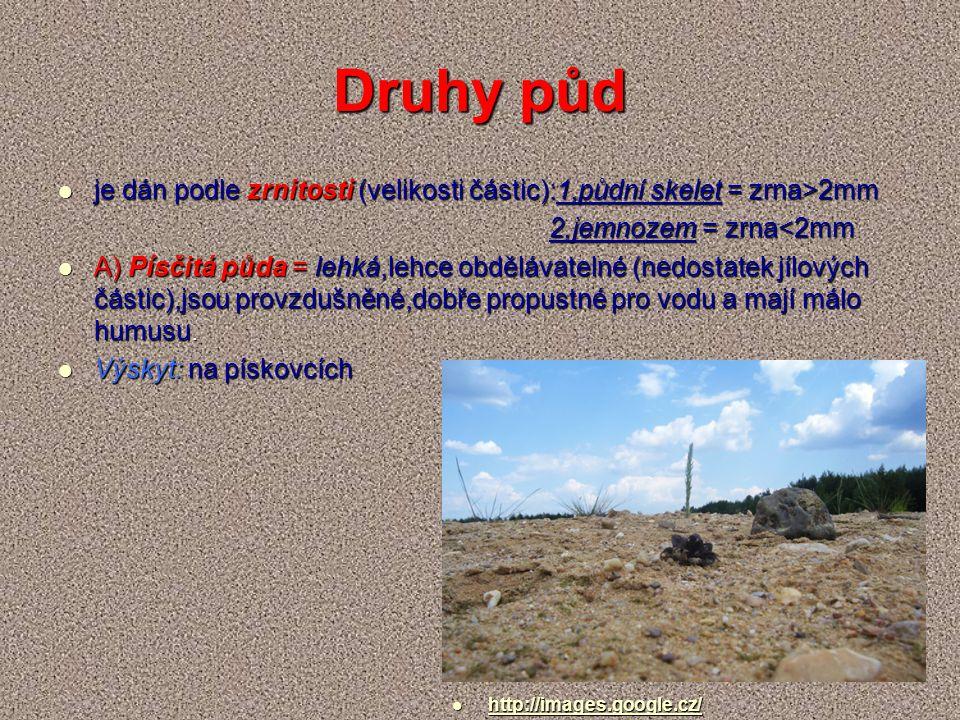 Druhy půd je dán podle zrnitosti (velikosti částic):1,půdní skelet = zrna>2mm je dán podle zrnitosti (velikosti částic):1,půdní skelet = zrna>2mm 2,jemnozem = zrna<2mm 2,jemnozem = zrna<2mm A) Písčitá půda = lehká,lehce obdělávatelné (nedostatek jílových částic),jsou provzdušněné,dobře propustné pro vodu a mají málo humusu.