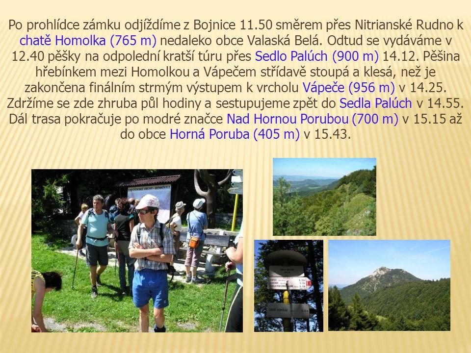 Po prohlídce zámku odjíždíme z Bojnice 11.50 směrem přes Nitrianské Rudno k chatě Homolka (765 m) nedaleko obce Valaská Belá. Odtud se vydáváme v 12.4