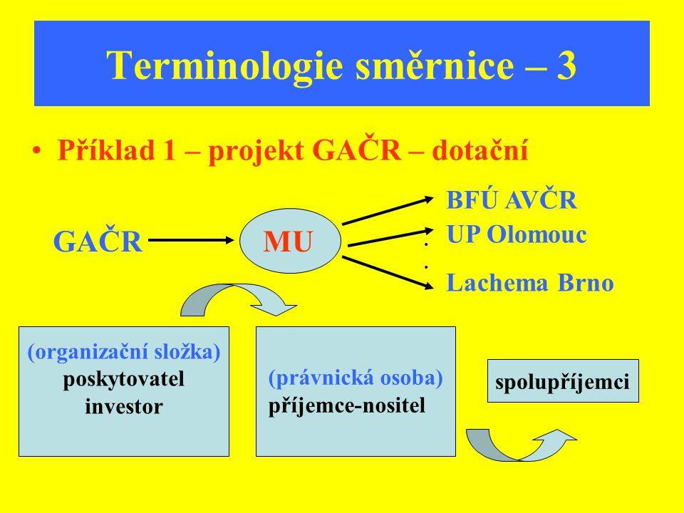 Terminologie směrnice – 3 Příklad 1 – projekt GAČR – dotační GAČRMU BFÚ AVČR UP Olomouc Lachema Brno.... spolupříjemci (organizační složka) poskytovat