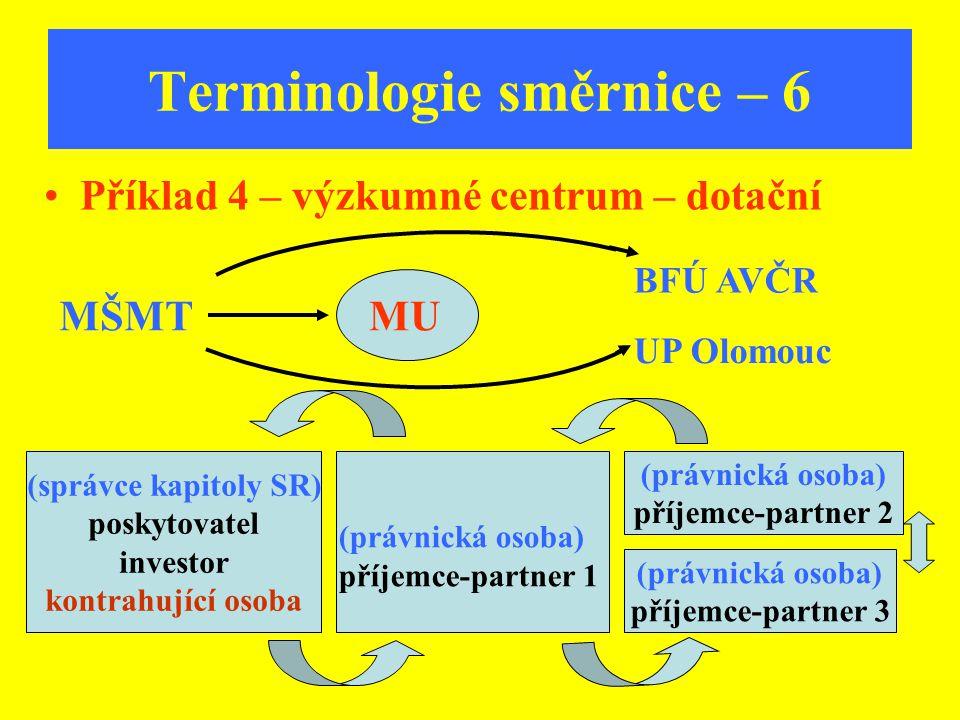Terminologie směrnice – 6 Příklad 4 – výzkumné centrum – dotační MŠMTMU BFÚ AVČR UP Olomouc (právnická osoba) příjemce-partner 2 (správce kapitoly SR)
