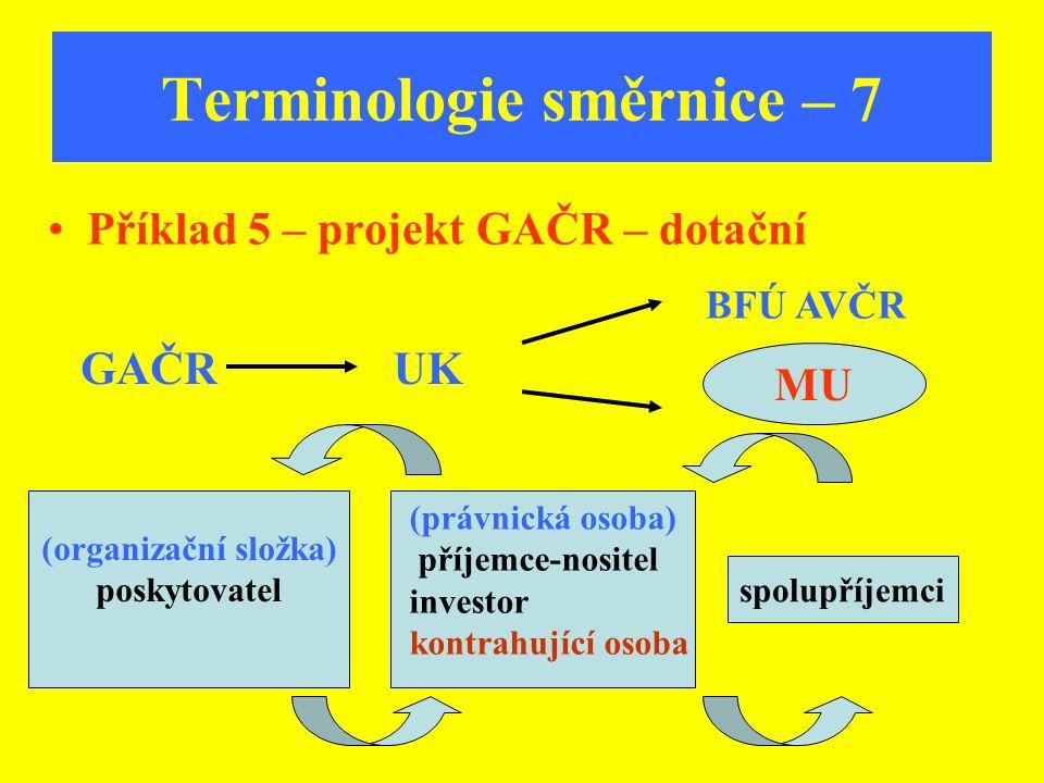 MU Terminologie směrnice – 7 Příklad 5 – projekt GAČR – dotační GAČR BFÚ AVČR spolupříjemci (organizační složka) poskytovatel (právnická osoba) příjem