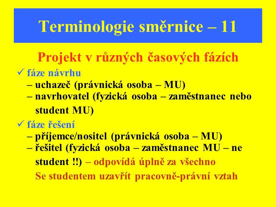 Terminologie směrnice – 11 Projekt v různých časových fázích f áze návrhu – uchazeč (právnická osoba – MU) – navrhovatel (fyzická osoba – zaměstnanec