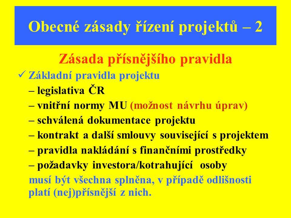 Obecné zásady řízení projektů – 2 Zásada přísnějšího pravidla Základní pravidla projektu – legislativa ČR – vnitřní normy MU (možnost návrhu úprav) –