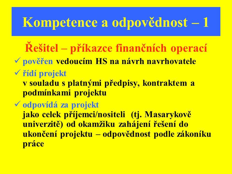 Kompetence a odpovědnost – 1 Řešitel – příkazce finančních operací pověřen vedoucím HS na návrh navrhovatele řídí projekt v souladu s platnými předpis
