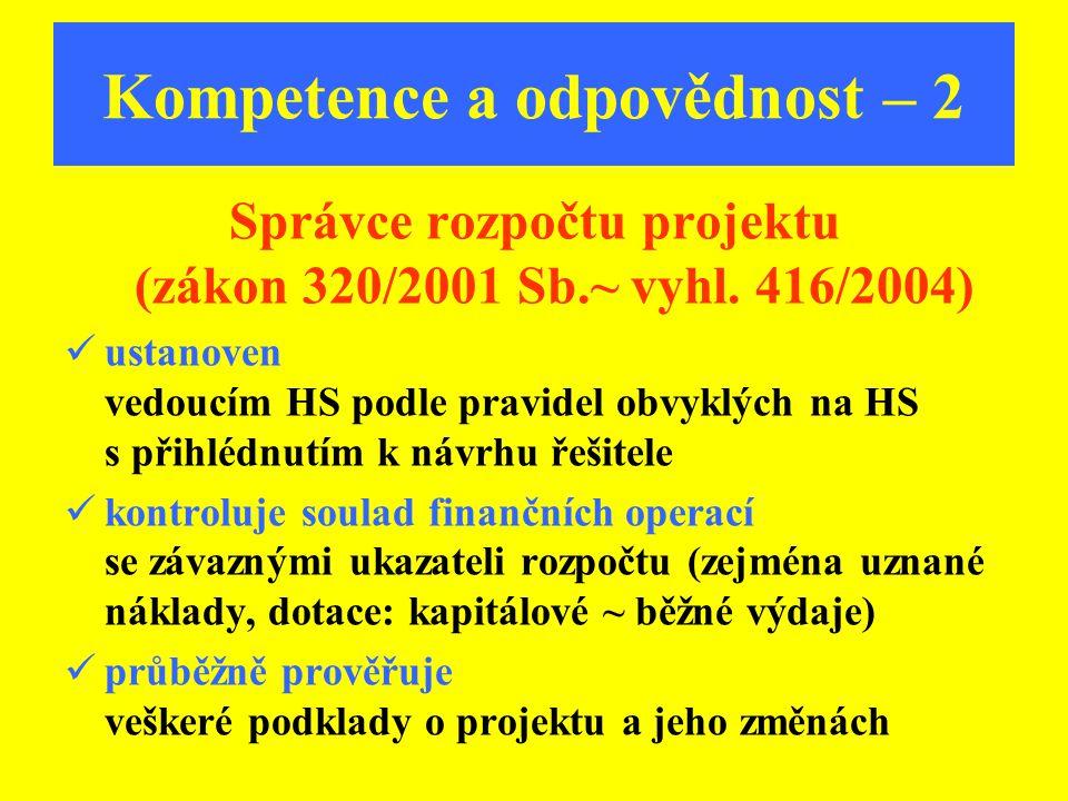 Kompetence a odpovědnost – 2 Správce rozpočtu projektu (zákon 320/2001 Sb.~ vyhl. 416/2004) ustanoven vedoucím HS podle pravidel obvyklých na HS s při