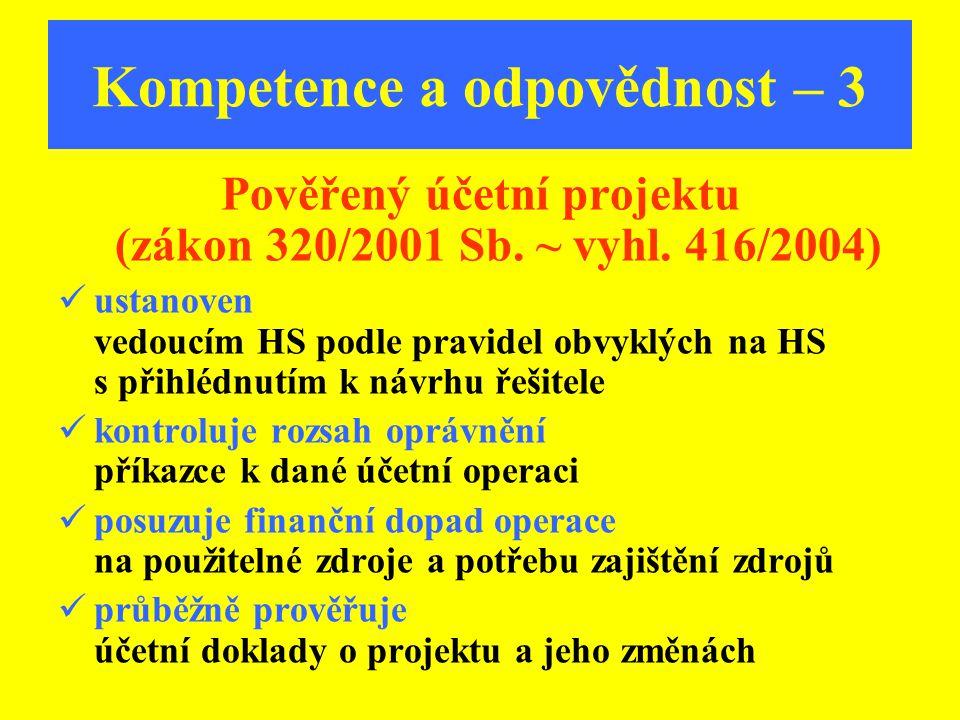 Kompetence a odpovědnost – 3 Pověřený účetní projektu (zákon 320/2001 Sb. ~ vyhl. 416/2004) ustanoven vedoucím HS podle pravidel obvyklých na HS s při