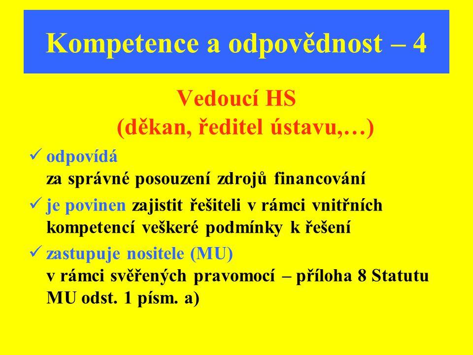 Kompetence a odpovědnost – 4 Vedoucí HS (děkan, ředitel ústavu,…) odpovídá za správné posouzení zdrojů financování je povinen zajistit řešiteli v rámc