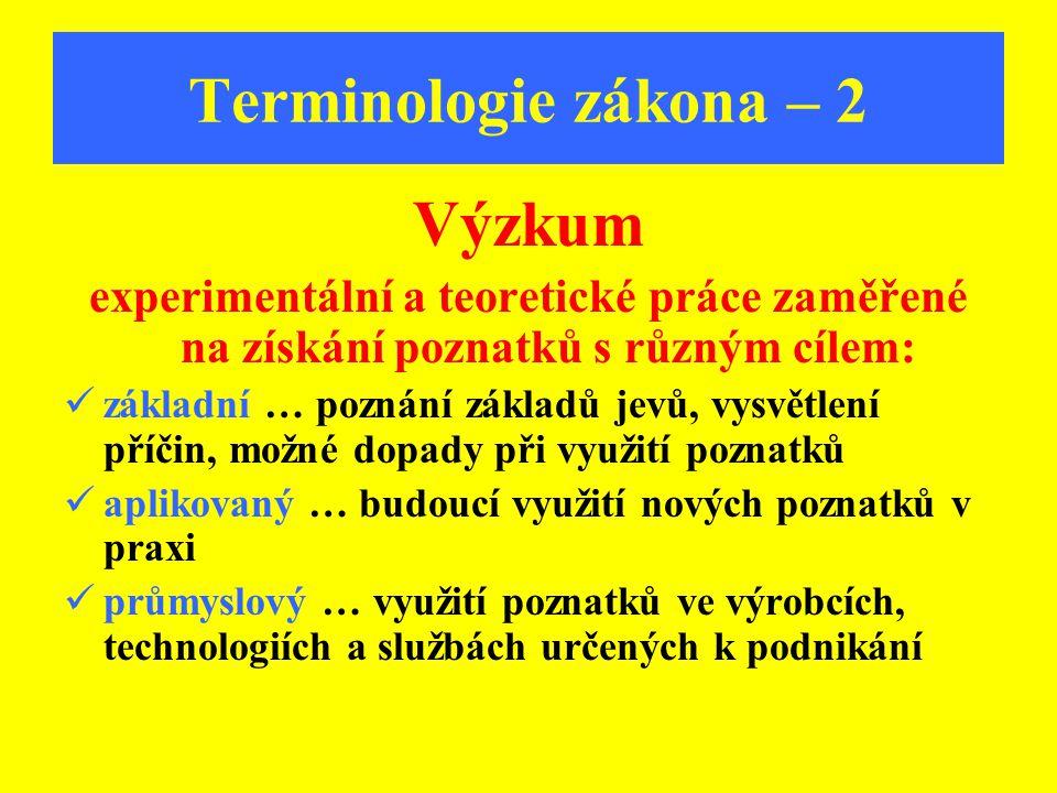 Terminologie zákona – 2 Výzkum experimentální a teoretické práce zaměřené na získání poznatků s různým cílem: základní … poznání základů jevů, vysvětl