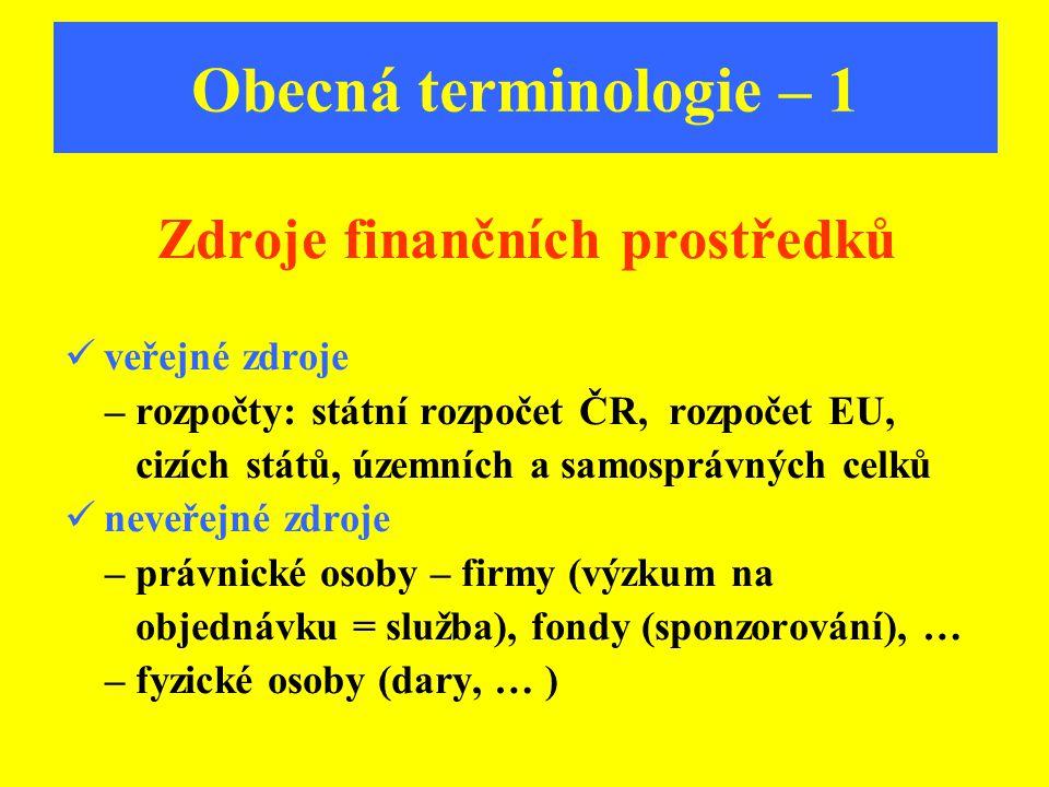 Obecná terminologie – 1 Zdroje finančních prostředků veřejné zdroje – rozpočty: státní rozpočet ČR, rozpočet EU, cizích států, územních a samosprávnýc