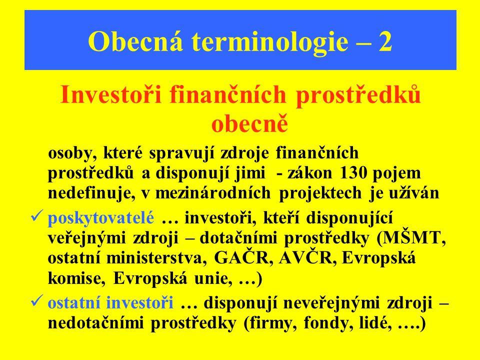 Obecná terminologie – 2 Investoři finančních prostředků obecně osoby, které spravují zdroje finančních prostředků a disponují jimi - zákon 130 pojem n