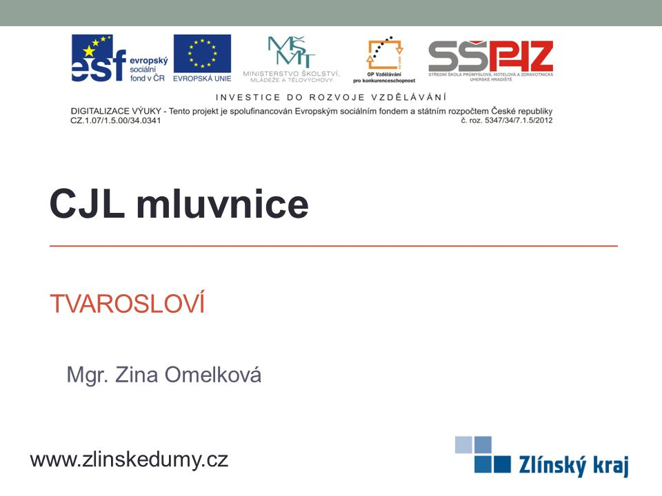TVAROSLOVÍ Mgr. Zina Omelková CJL mluvnice www.zlinskedumy.cz