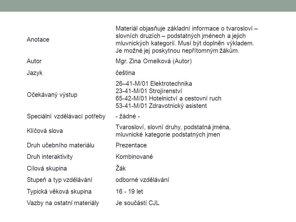 Anotace Materiál objasňuje základní informace o tvarosloví – slovních druzích – podstatných jménech a jejich mluvnických kategorií. Musí být doplněn v