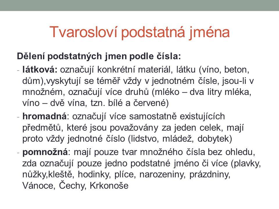 Tvarosloví podstatná jména Dělení podstatných jmen podle čísla: - látková: označují konkrétní materiál, látku (víno, beton, dům),vyskytují se téměř vždy v jednotném čísle, jsou-li v množném, označují více druhů (mléko – dva litry mléka, víno – dvě vína, tzn.