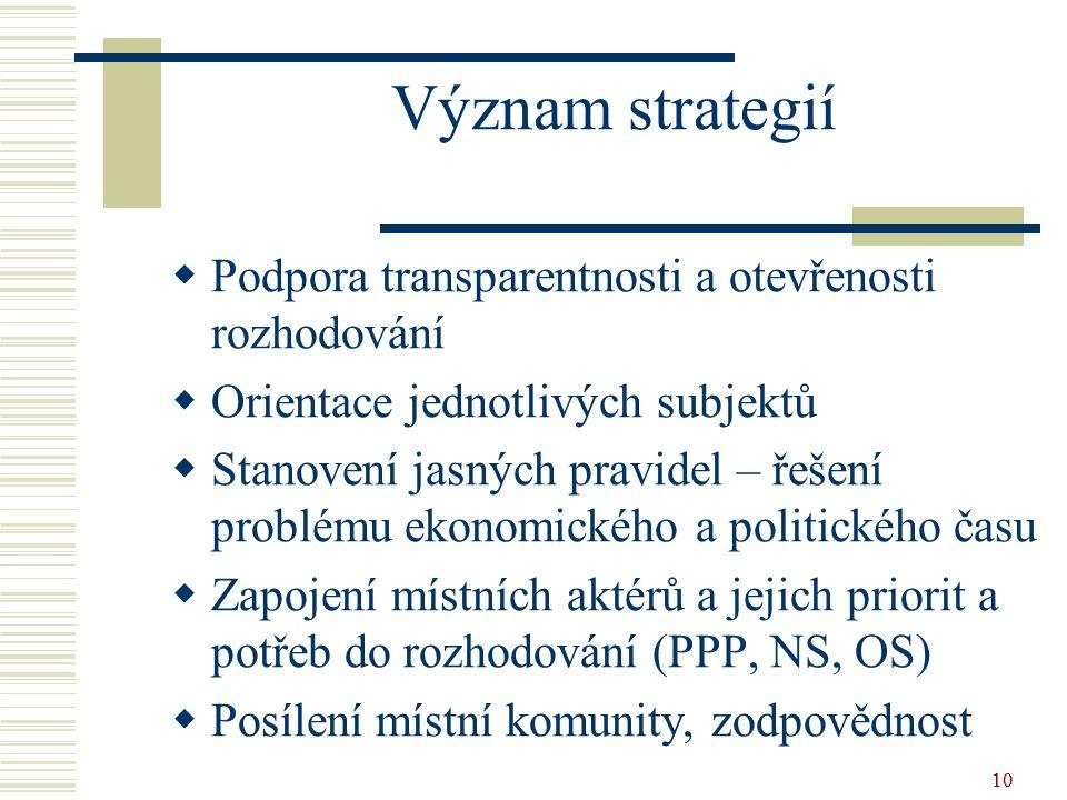 10 Význam strategií  Podpora transparentnosti a otevřenosti rozhodování  Orientace jednotlivých subjektů  Stanovení jasných pravidel – řešení probl