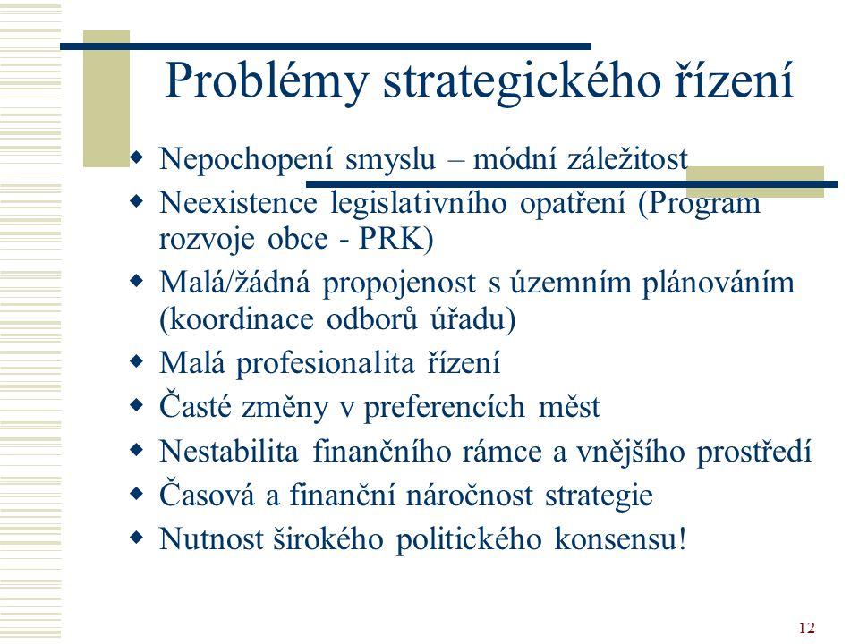 12 Problémy strategického řízení  Nepochopení smyslu – módní záležitost  Neexistence legislativního opatření (Program rozvoje obce - PRK)  Malá/žád
