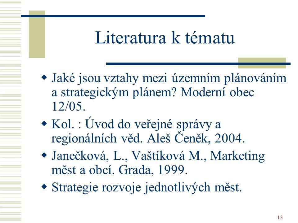 13 Literatura k tématu  Jaké jsou vztahy mezi územním plánováním a strategickým plánem? Moderní obec 12/05.  Kol. : Úvod do veřejné správy a regioná