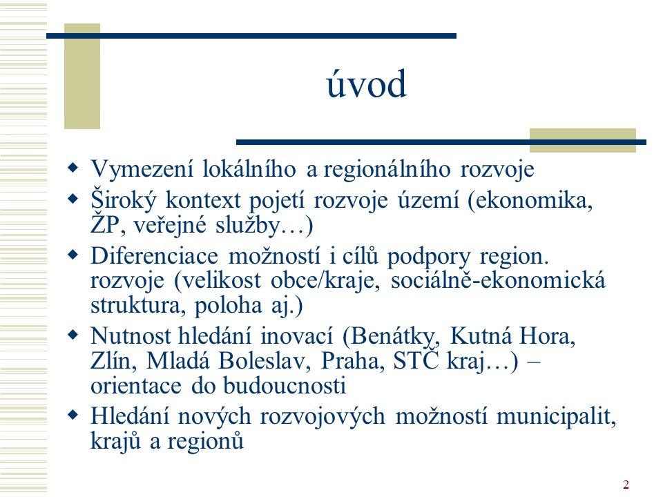2 úvod  Vymezení lokálního a regionálního rozvoje  Široký kontext pojetí rozvoje území (ekonomika, ŽP, veřejné služby…)  Diferenciace možností i cí