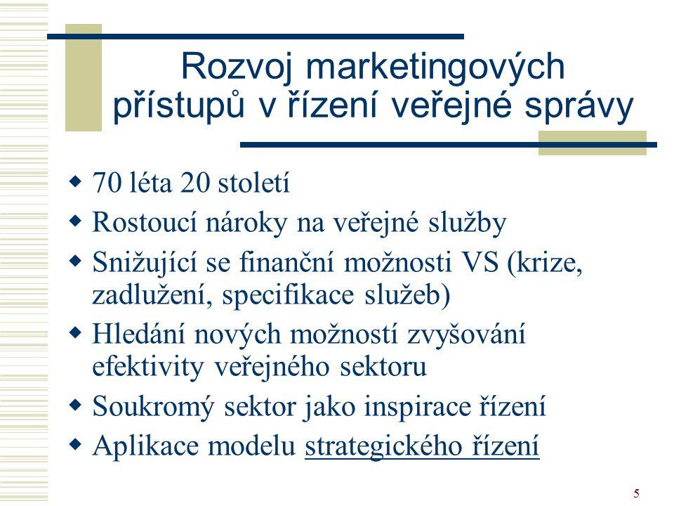 5 Rozvoj marketingových přístupů v řízení veřejné správy  70 léta 20 století  Rostoucí nároky na veřejné služby  Snižující se finanční možnosti VS