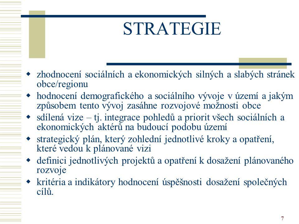 7 STRATEGIE  zhodnocení sociálních a ekonomických silných a slabých stránek obce/regionu  hodnocení demografického a sociálního vývoje v území a jak