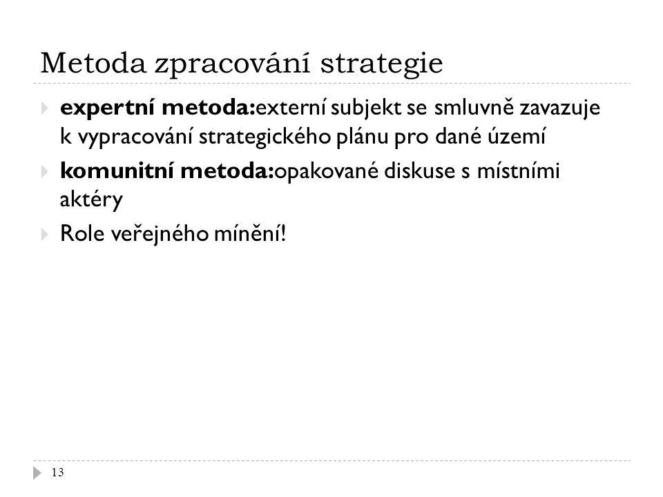 Metoda zpracování strategie  expertní metoda:externí subjekt se smluvně zavazuje k vypracování strategického plánu pro dané území  komunitní metoda:opakované diskuse s místními aktéry  Role veřejného mínění.