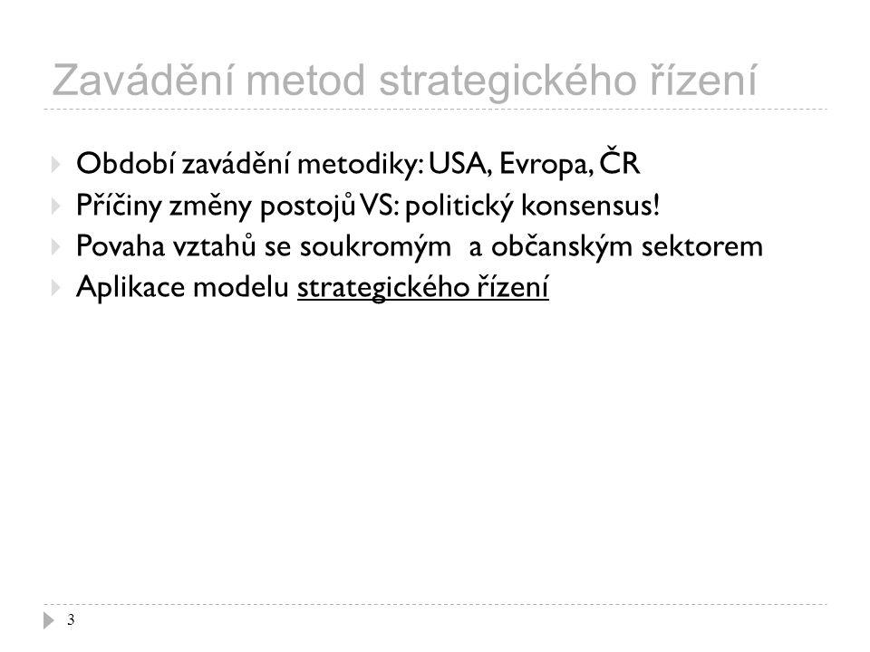 Problémy strategického řízení 24 dílčí strategie jsou rozptýlené v řadě nestrukturovaných dokumentů.