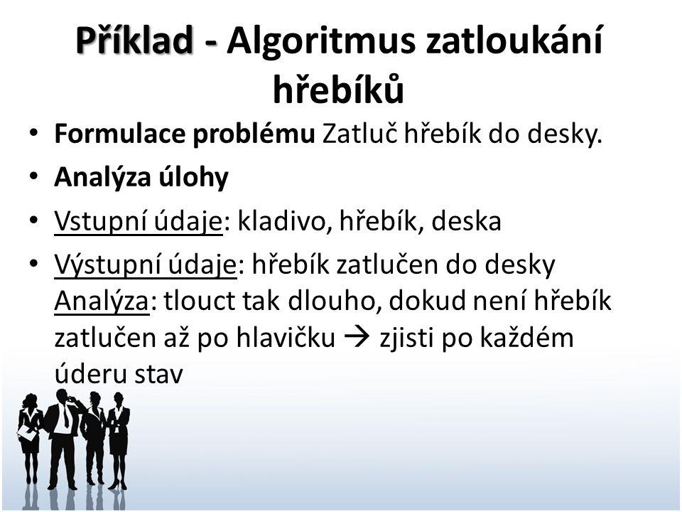 Příklad - Příklad - Algoritmus zatloukání hřebíků Formulace problému Zatluč hřebík do desky.