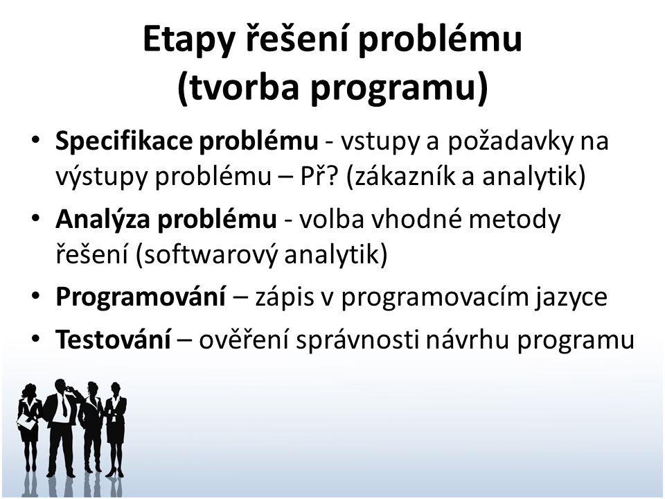 Zápis algoritmu Přirozený jazyk (slovní popis) Grafické znázornění (vývojový diagram) Pseudokód (popis nezávislý na syntaxi programovacího jazyka) Programovací jazyk (např.