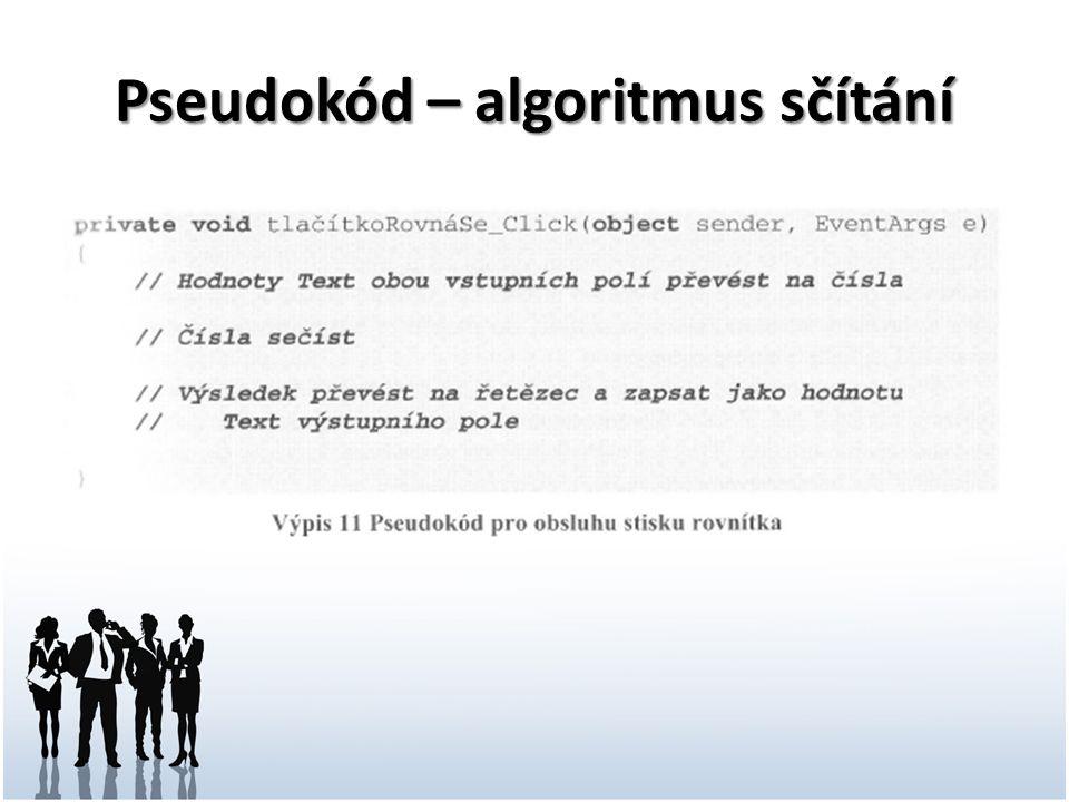 Pseudokód – algoritmus sčítání