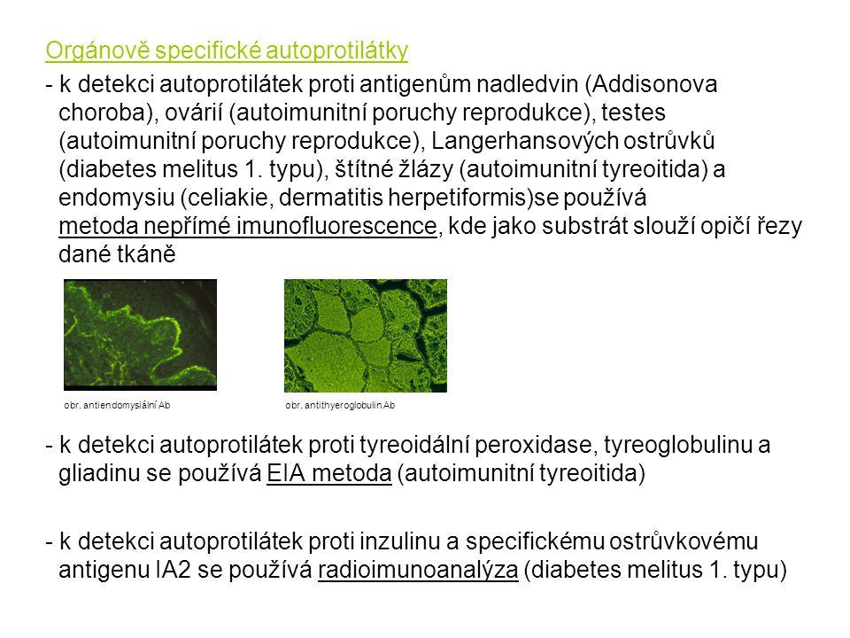 Orgánově specifické autoprotilátky - k detekci autoprotilátek proti antigenům nadledvin (Addisonova choroba), ovárií (autoimunitní poruchy reprodukce)