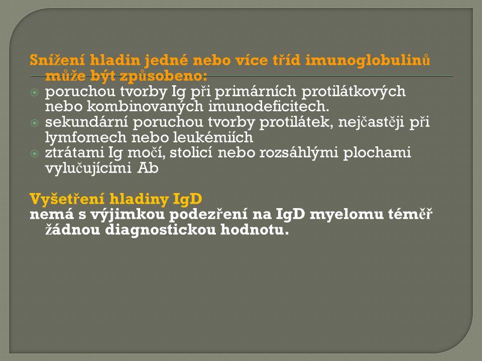 Sní ž ení hladin jedné nebo více t ř íd imunoglobulin ů m ůž e být zp ů sobeno:  poruchou tvorby Ig p ř i primárních protilátkových nebo kombinovanýc