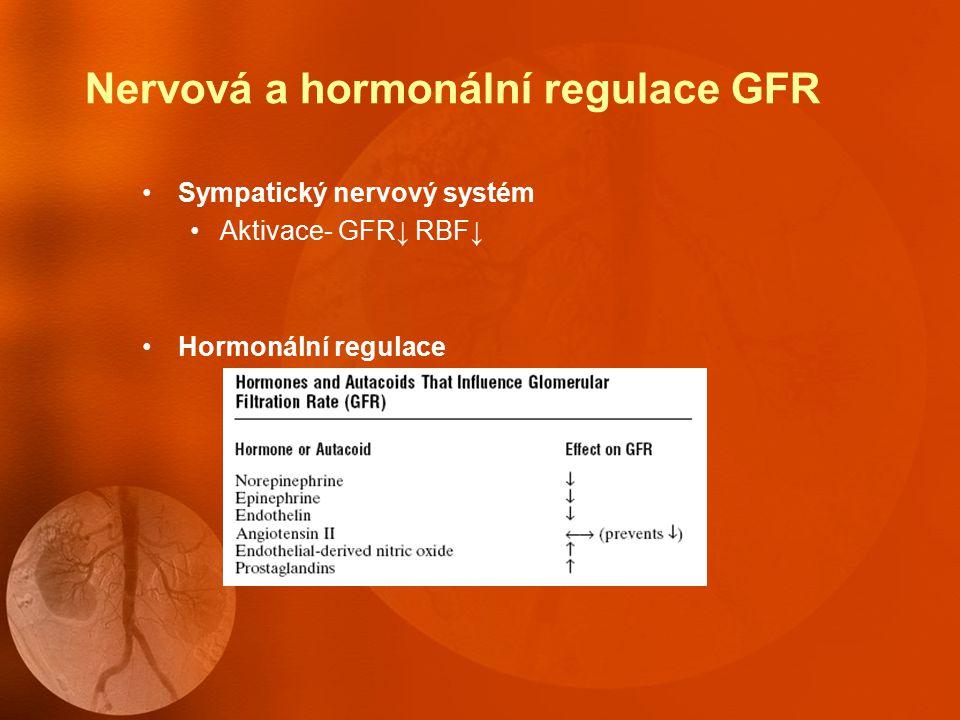 Měření GFR Indikátorová látka - volně se filtrující, nepodléhající resorpci ani sekreci, neovlivňující činnost ledvin, nemetabolizující se inulin aplikovaný v infuzi, endogenní kreatinin