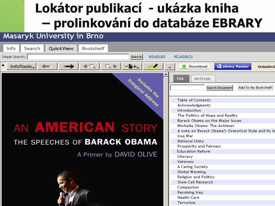 Lokátor publikací - ukázka kniha – prolinkování do databáze EBRARY