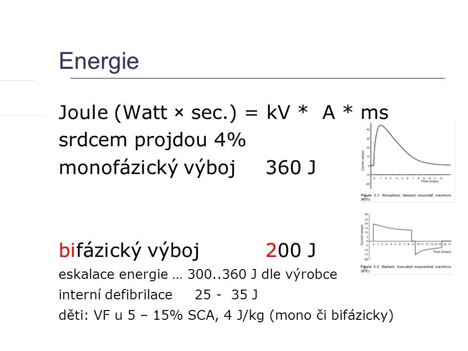 Energie Joule (Watt × sec.) = kV * A * ms srdcem projdou 4% monofázický výboj 360 J bifázický výboj 200 J eskalace energie … 300..360 J dle výrobce interní defibrilace 25 - 35 J děti: VF u 5 – 15% SCA, 4 J/kg (mono či bifázicky)
