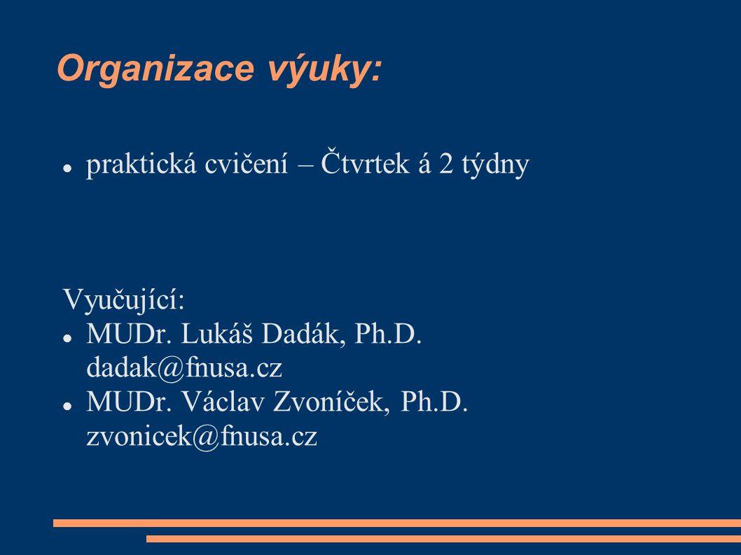 Organizace výuky: praktická cvičení – Čtvrtek á 2 týdny Vyučující: MUDr.