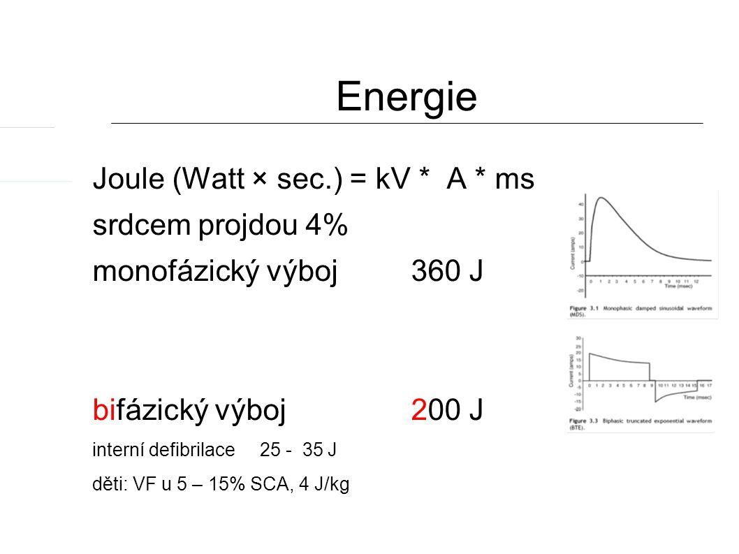Energie Joule (Watt × sec.) = kV * A * ms srdcem projdou 4% monofázický výboj 360 J bifázický výboj 200 J interní defibrilace 25 - 35 J děti: VF u 5 – 15% SCA, 4 J/kg