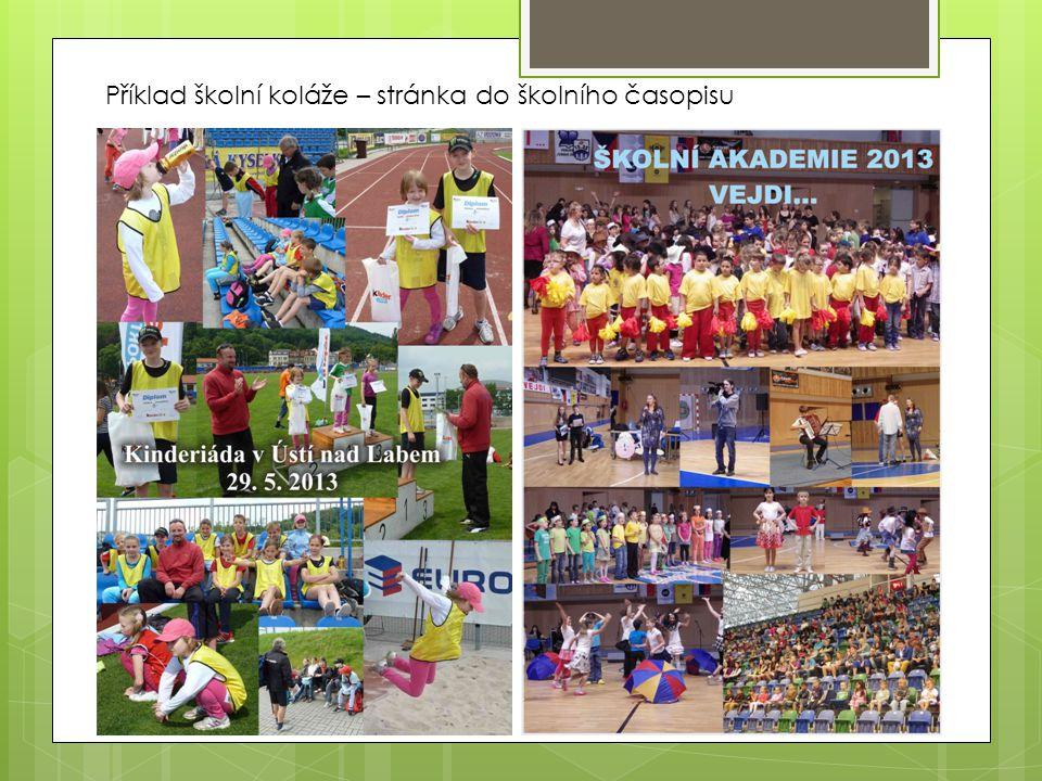 Příklad školní koláže – stránka do školního časopisu