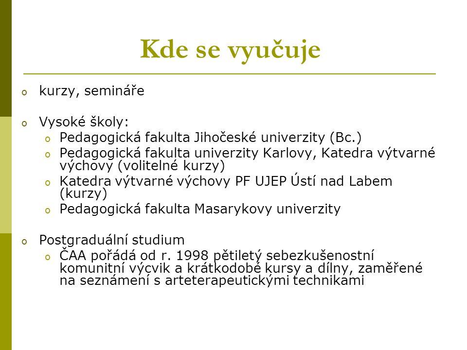 Kde se vyučuje o kurzy, semináře o Vysoké školy: o Pedagogická fakulta Jihočeské univerzity (Bc.) o Pedagogická fakulta univerzity Karlovy, Katedra vý