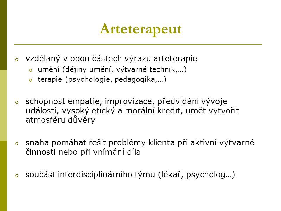 Arteterapeut o vzdělaný v obou částech výrazu arteterapie o umění (dějiny umění, výtvarné technik,…) o terapie (psychologie, pedagogika,…) o schopnost